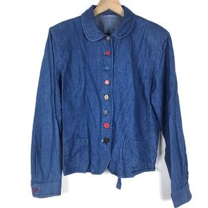 Denim Chambray Jacket Funky Unique Buttons Boho